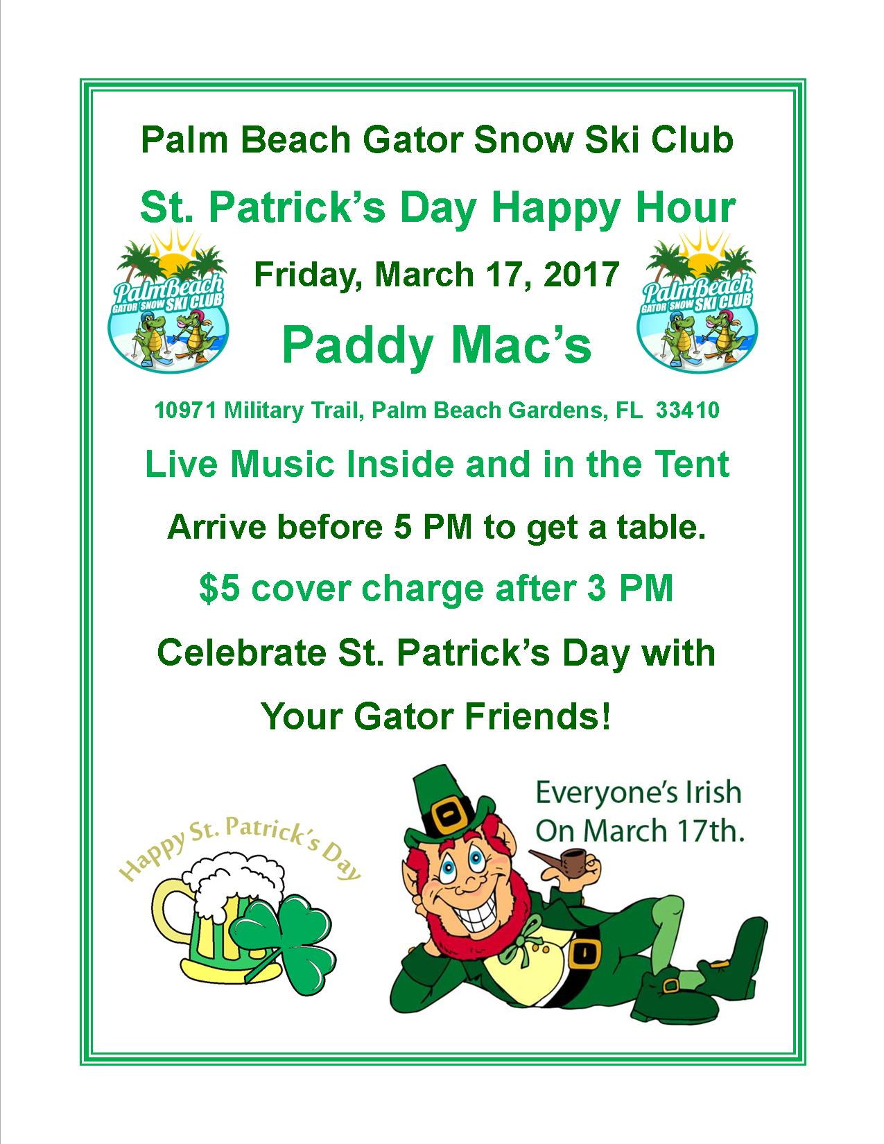 Palm beach gator snow ski club st patricks day happy hour at paddy macs for St patrick s church palm beach gardens